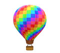 Colorful hot air balloon isolated on white background d render Royalty Free Stock Photos