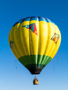 Colorful hot air balloon soars silently beautiful blue sky annual quechee hot air balloon festival vermont Stock Photography