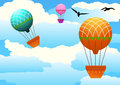 Colorful hot air balloons against cloudy sky Royalty Free Stock Photography
