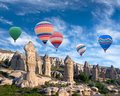 Colorful hot air balloons flying over Cappadocia, Turkey