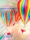 Colorful hot air balloons illustration of on sky background Stock Photos