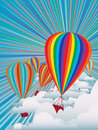 Colorful hot air balloons illustration of on sky background Stock Images