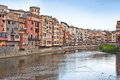 Colorful houses and apartments in Girona Stock Photo
