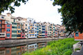 Colorful houses and apartments in Girona Royalty Free Stock Image