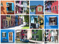 Colorful houses in Burano - collage Stock Photo