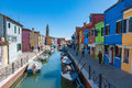 Colorful houses and canal on Burano island, Venice, Italy Royalty Free Stock Photo