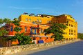Colorful houses in Cartagena Walled City. Royalty Free Stock Photo