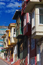 Colorful houses on city street istanbul scene with very narrow house painted historic in fatich Stock Photo