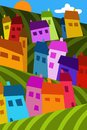 Colorful houses in the hills drawing with Royalty Free Stock Photography