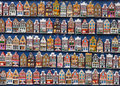 Colorful houses magnets in souvenir shop amsterdam traditional hanging on counter Royalty Free Stock Photos