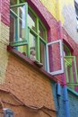 Colorful houses on Neals Yard, small alley in Covent Garden, London, United Kingdom Royalty Free Stock Photo