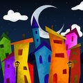 Colorful houses at night Stock Photography