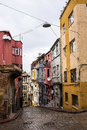 Colorful houses in old city Balat, Istanbul Royalty Free Stock Photo