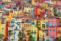 Colorful houses in old part of Menton, French Riviera, France