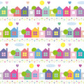Colorful houses pattern blue orange purple pink and green trees hearts sun dots and clouds illustration on white background Stock Photos