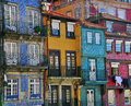 Colorful houses of porto ribeira portugal Stock Image