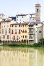 Colorful houses on the river arno in florence historic near ponte veccio bridge tuscany Stock Image