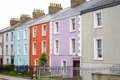 Colorful houses with a to let sign on row in dublin street in front of one of them Stock Photos