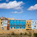 Colorful houses in villajoyosa la vila joiosa alicante at mediterranean spain Stock Images
