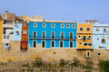 Colorful houses in villajoyosa la vila joiosa alicante at mediterranean spain Royalty Free Stock Photos