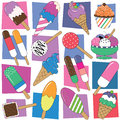 Colorful ice cream collection background set pattern on rectangular and white Stock Photo