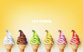Colorful ice cream cone, different flavors, vector illustration Royalty Free Stock Photo