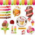 Colorful ice cream emblems set Stock Images