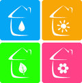 Colorful icons of heater plumbing and landscaping with house silhouette Stock Photo