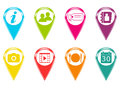 Colorful icons set of or colored markers with symbols Stock Images