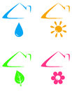 Colorful icons under house roof with sun flower drop and leaf Royalty Free Stock Image