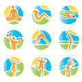 Colorful icons yoga fitness with and healthy lifestyle activities on an abstract landscape background expressive watercolor Royalty Free Stock Photo