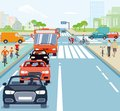 Road junction WITH CARS AND CYCLISTS Royalty Free Stock Photo