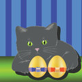 Colorful illustration with cat and two easter eggs for your design Royalty Free Stock Photo