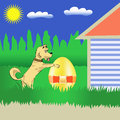 Colorful illustration with dog and easter egg for your design Royalty Free Stock Images