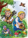 Colorful illustration for the fairy tale about injured duck Royalty Free Stock Photography