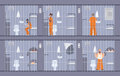 Colorful illustration featuring prisoners behind the bars. People in orange uniform. escape get out through wall in cell Royalty Free Stock Photo