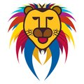 Colorful illustration of king of jungle - Lion Stock Image