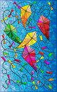 Colorful illustration with kites in the sky, stained glass style Royalty Free Stock Photo