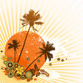Colorful illustration with palms. Royalty Free Stock Photography