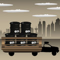 Colorful illustration with truck transporting oil barrels across the city Royalty Free Stock Photo