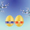 Colorful illustration with two easter eggs for your design Stock Photo