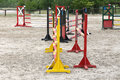 Colorful image of show jumping hurdles at the show jumping arena Royalty Free Stock Photo