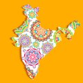 Colorful india illustration of indian map with pattern Royalty Free Stock Images