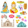 Colorful Indian Culture Elements Set Royalty Free Stock Photo