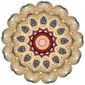 Colorful Indian kaleidoscopic and illustrative coloring mandala