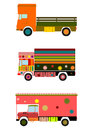 Colorful indian truck colourful on a white background Royalty Free Stock Photos