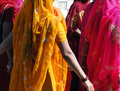 Colorful indian women form a wedding procession in rajasthan india Royalty Free Stock Photo
