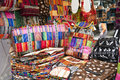 Colorful indigenous market of Otavalo Stock Photo