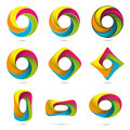 Colorful infinite impossible objects set loop vector design elements collection easily editable with global color swatches Stock Photo