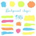 Colorful ink borders, brush strokes, stains, banners, blots, splatters. Royalty Free Stock Photo